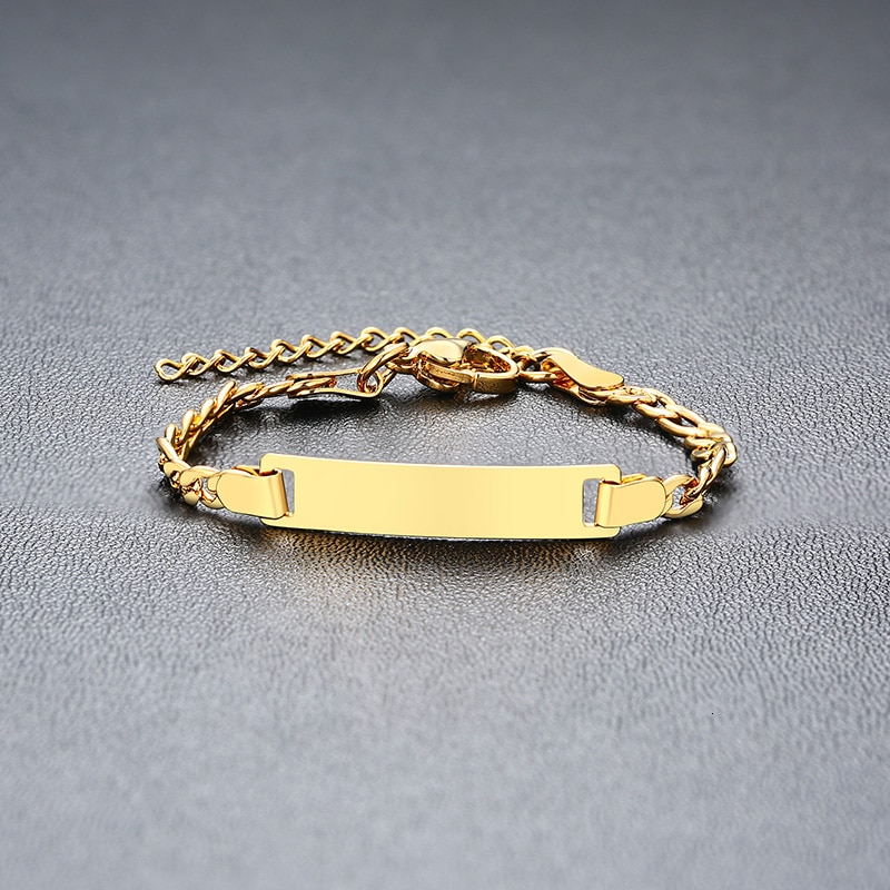 Details about  /Vnox Personalize Custom Baby Name Bracelet Gold Tone Solid Stainless Steel